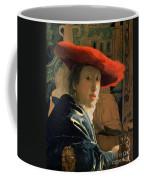 Girl With A Red Hat Coffee Mug by Jan Vermeer