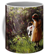 Girl With Basket Of Roses Coffee Mug