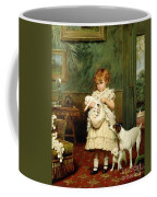 Girl With Dogs Coffee Mug by Charles Burton Barber