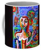 Girl With Glass Of Chardonnay Coffee Mug
