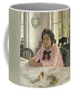 Girl With Peaches Coffee Mug by Valentin Aleksandrovich Serov