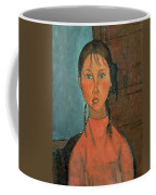 Girl With Pigtails Coffee Mug by Amedeo Modigliani