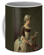 Girl With Racket And Shuttlecock Coffee Mug by Jean-Baptiste Simeon Chardin