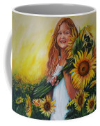 Girl With Sunflowers Coffee Mug