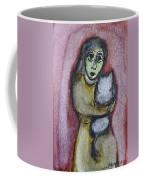 Girl With White Cat Coffee Mug