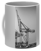 Global Containers Terminal Cargo Freight Cranes Bw Coffee Mug