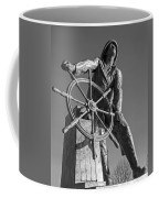Gloucester Fisherman's Memorial Statue Black And White Coffee Mug