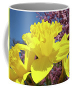 Glowing Yellow Daffodils Art Prints Pink Blossoms Spring Baslee Troutman Coffee Mug