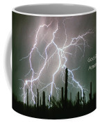 God Bless America Color Lightning Storm In The Usa Desert Coffee Mug