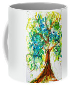 Gold Heart Valentine Tree Watercolor N Ink Coffee Mug