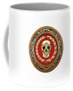 Gold Human Skull Over White Leather  Coffee Mug