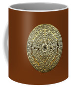 Gold Mayan-aztec Calendar On Brown Leather Coffee Mug