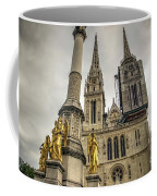 Golden Angel Statues In Front Of The Cathedral Coffee Mug