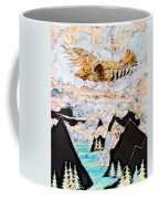 Golden Eagle Flies Above Clouds And Mountains Coffee Mug by Carol  Law Conklin
