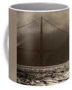 Golden Gate Bridge In The Fog, Black And White, San Francisco, California Coffee Mug