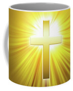 Golden Latin Cross With Sunbeams Coffee Mug