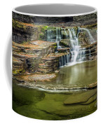 Golden Leaves And Mossy Tiers Of Enfield Glen Waterfall Coffee Mug
