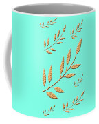 Golden Leaves On Aqua Coffee Mug