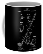 Golf Club Patent Drawing Black Coffee Mug
