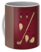 Golf Club Patent Drawing Dark Red 2 Coffee Mug