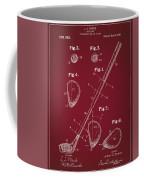 Golf Club Patent Drawing Dark Red Coffee Mug