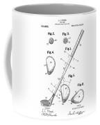 Golf Club Patent Drawing White Coffee Mug