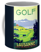 Golf, Lausanne, Switzerland, Travel Poster Coffee Mug
