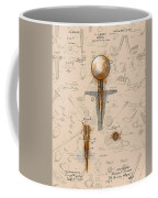 Golf Tee Patent Drawing Sepia Coffee Mug