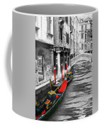 Gondolas On Venice. Black And White Pictures With Colour Detail  Coffee Mug