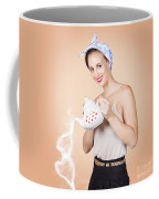 Good Looking Female Pouring Hot Coffee Love Coffee Mug