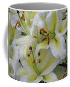 Gorgeous Cluster Of Blooming White Lilies In A Bouquet Coffee Mug