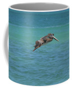 Gorgeous Grey Pelican With His Wings Extended In Flight  Coffee Mug