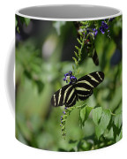 Gorgeous Zebra Butterfly On Some Blue Flowers Coffee Mug