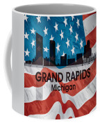 Grand Rapids Mi American Flag Squared Coffee Mug