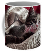 Gray Tabby With White Quilted Throw Coffee Mug
