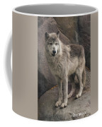 Gray Wolf On A Rock Coffee Mug