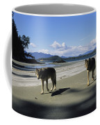 Gray Wolves On Beach Coffee Mug
