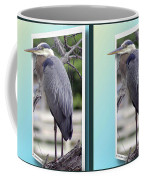 Great Blue Heron - Gently Cross Your Eyes And Focus On The Middle Image Coffee Mug