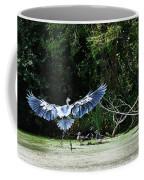 Great Blue Heron And Wood Ducks Coffee Mug