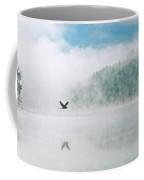 Great Blue Heron Flight Over Foggy Lake Coffee Mug