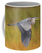 Great Blue Heron In Flight Coffee Mug by Bruce J Robinson