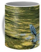 Great Blue Heron On A Golden River Coffee Mug