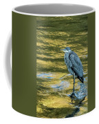 Great Blue Heron On A Golden River Vertical Coffee Mug