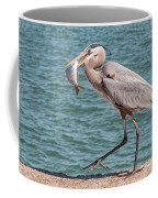 Great Blue Heron Walking With Fish #4 Coffee Mug
