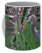 Great Blue Heron With His Catch Coffee Mug