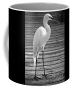 Great Egret On The Pier - Black And White Coffee Mug