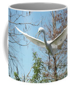 Great Egret Over The Treetops Coffee Mug