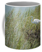 Great Egret Through Reeds Coffee Mug