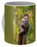 Great Horned Owl At Attention Coffee Mug