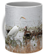 Great White Egret And Ducks Coffee Mug